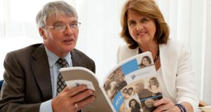 Minister for Social Protection Joan Burton and Pensions Ombudsman Paul Kenny at the launch of the ombudsman's annual report in Dublin today. Photograph: Johnny Bambury/MQ Photo