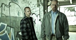 Jesse Pinkman (Aaron Paul) and Walter White (Bryan Cranston) in Breaking Bad.