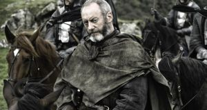 Liam Cunningham as Davos Seaworth in Game of Thrones: Visitor attractions for fans of the show promoted by Tourism Ireland  include tours of key locations such as for Winterfell or Pyke.  HBO publicity shot.