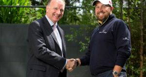 Tom Hayes, director of corporate banking at Bank of Ireland and golfer Shane Lowry. photograph: inpho/morgan treacy