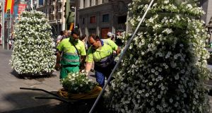 Gardeners plant flowers at Gran Via in Madrid yesterday as Spanish flags hang from lampposts in preparation for Prince Felipe's coronation. Photograph: Pablo Blazquez Dominguez/Getty Images