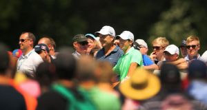 Rory McIlroy and caddie JP Fitzgerald  at the pro-am at Fota Island. Photo: Cathal Noonan/Inpho