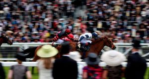 Anthem Alexander ridden by Pat Smullen on the way to victory in the Queen Mary Stakes on Day Two of the Royal Ascot festival. Photograph: David Davies/PA