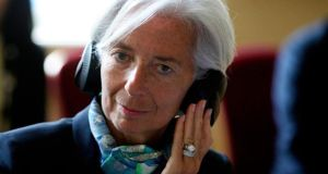 International Monetary Fund managing director Christine Lagarde: her organisation says pressure needs to be maintained on the banks to resolve non-performing loans. Photograph: Reuters/Andrew Cowie