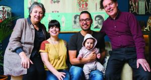Annie Sloan with her husband David Manuel, who runs the business with her; son Felix Sloan, a graphic designer and creative director of the company; Lizzy Brown, Felix's partner, who is the company's marketing manager, and Anne Sloan's first grandchild, Willow. Photographs: Fresh Style Hoffman and Stephen Devries