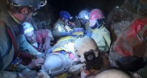 A handout screenshot showing rescue workers bringing injured German, Johann Westhauser out of the Riesending cave near Berchtesgaden, southern Germany. Photograph: EPA