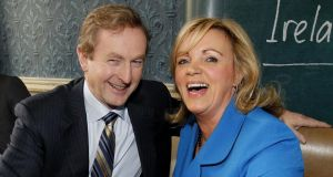 Taoiseach Enda Kenny with PayPal's Louise Phelan:  Mr Kenny  was first up to ladle Ms Phelan with plaudits at a press conference on Wednesday.  Photograph: Julien Behal/PA Wire