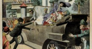 "An image from illustrated supplement ""Le Petit Journal"" showing the assassination of archduke Franz Ferdinand and his wife Sophie in Sarajevo on June 28th, 1914. Photograph: Popperfoto/Getty Images"