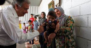United Nations High Commissioner for Refugees (UNHCR) Antonio Guterres  visits a Syrian refugee family in Beirut this week. Photograph: Mohamed Azakir/Reuters