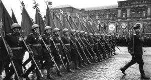 'The Bagration campaign, (which started in June 1944) also saw a further hardening of the attitudes between the combatants on the eastern front. The scene was set for the merciless campaigns of 1945, culminating in the brutal battle of Berlin.' Above, Soviet soldiers marching in  Red Square, Moscow during a victory parade on June 24th, 1945. Photograph: Stringer/AFP/Getty Images