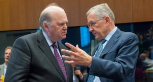 Minister for Finance  Michael Noonan with Klaus Regling, from Germany, Managing Director of the European Stability Mechanism (ESM) prior to the eurogroup finance ministers meeting  in Luxembourg. Photograph: Nicolas Bouvy/EPA