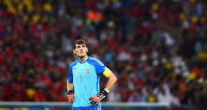 Spain goalkeeper Iker Casillas was culpable for Chile's second goal in the World Cup Group B match at the Maracana on Wednesday. Photograph: Getty Images.