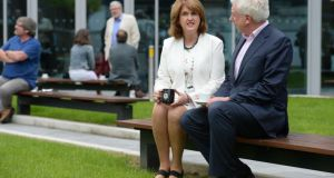 Labour leadership candidates Joan Burton and Alex White, who both made speeches at the leadership hustings in Cork last night. Photograph: Dara Mac Dónaill/The Irish Times