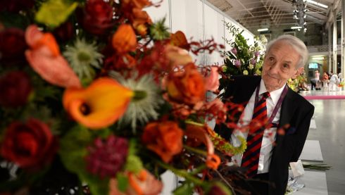 Rev William McMilliam, representing Northern  Ireland, winner of  a special award for the  most innovative arrangement at the WAFA World Flower Show 2014 running at the RDS, Dublin. Photograph: Cyril Byrne/The Irish Times