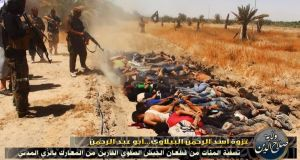 Atrocity: a scene from  the video apparently showing Isis executing Iraqi soldiers