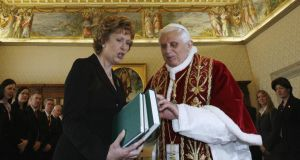 Praying for change:  McAleese   with Cardinals Desmond Connell, Cahal Daly, Seán Brady and Keith O'Brien at the Irish College in Rome, in  2007. Photographs: Dara Mac Dónaill
