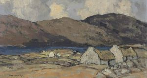 Thatched Cottages with Mountains Beyond by Paul Henry, (€31,000-€44,000) at Christie's London