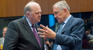 Minister for Finance Michael Noonan  with European Stability Mechanism managing director Klaus Regling prior to the Luxembourg EU euro group finance ministers' meeting at EU headquarters in Luxembourg. Photograph: EPA/Nicolas Bouvy