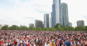 Fans in Grant Park, Chicago, watch the US beat Ghana, a victory that elevated awareness of the game to a whole new level. Photograph: Getty Images
