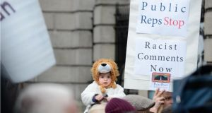 Travellers and supporters protesting outside the Dáil last year. Photograph: Dara Mac Dónaill / THE IRISH TIMES
