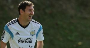 Lionel Messi during Argentina's training session at Club Atletico Mineiro in Belo Horizonte yesterday.