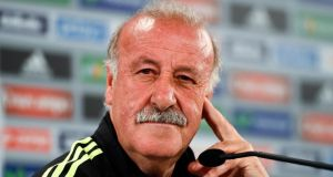 Spain coach Vicente Del Bosque will wait until after the final group game against Australia to decide his future. Photograph:  David Ramos/Getty Images