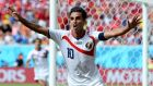 Bryan Ruiz of Costa Rica celebrates scoring what proved to be the winner against Italy in  their World Cup Group D match   at Arena Pernambuco  in Recife, Brazil, and thus ensured England's elimination. Photograph: Jamie McDonald/Getty Images