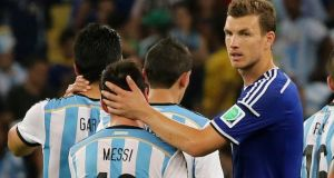Edin Dzeko: The striker needs to be at his best if Bosnia are to beat Nigeria. Photograph: Abedin Taherkenareh/EPA