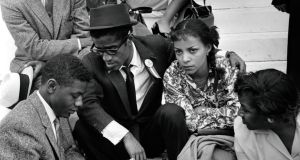 At a civil rights demonstration in Washington with Sammy Davis Jr