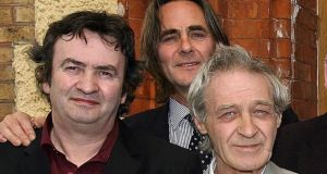 Gerry Conlon (left), Paul Hill (centre), and Paddy Hill of the Birmingham Six after after the funeral of Birmingham Six member Richard McIkenny in 2006. File Photograph: Julien Behal/PA.