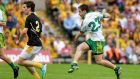 Darach O'Connor scores Donegal's second goal in the  Ulster SFC  semi-final against Antrim in Clones.  Photograph:  Donall Farmer/Inpho