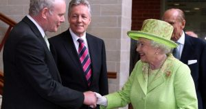Queen Elizabeth is to meet Martin McGuinness for the third time, tomorrow. They first shook hands in Belfast in 2012.  Photograph: Paul Faith/PA Wire