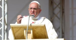 Pope Francis  at the Mass in Piana de Sibari in Calabria. Photograph: Franco Origlia/Getty Images