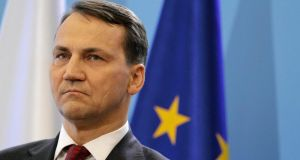 Polish foreign minister Radislow Sikorski said British prime minister David Cameron would be able to negotiate major reforms to Britain's EU membership terms even if he was defeated on the Juncker issue. Photograph: Reuters/Slawek Kaminski/Agencja Gazeta