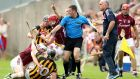 Galway's Joe Canning and Andy Smith get involved in a scuffle with Kilkenny's Richie Hogan and Walter Walsh at Tullamore. Photograph: James Crombie/Inpho