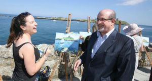 Author Salman Rushdie, who was guest speaker at this year's Dalkey Book Festival, at Coliemore Harbour in Dalkey yesterday. Photograph: Conor McCabe Photography