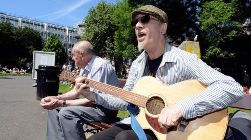 Paul Bacon belts one out in St Stephen's Green. Photograph: Dave Meehan/The Irish Times
