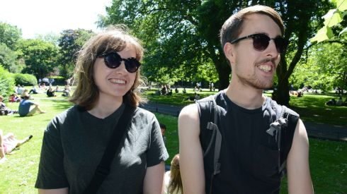 Australians Emily Paesler and Tim Williams feeling quite at home on St Stephen's Green. Photograph: Dave Meehan/The Irish Times