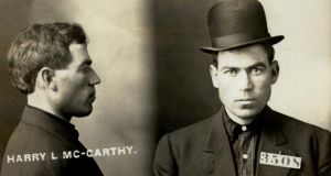 "Harry L McCarthy (27), a nurse arrested in San Francisco on July 15th, 1910, for ""robbery"".  On Octobert 4th, 1910, his case was dismissed."
