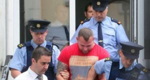 Lesek Scychulec, charged with assault causing harm to Patryck Krupa, leaving Athlone Courthouse yesterday. Photograph: James Flynn/APX