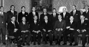 Members of Jack Lynch's first cabinet  at Aras an Uachtarain in 1966. Frank Aiken is seated to President Eamon de Valera's left, with Charles Haughey standing between the two. Photograph: Gordon Standing