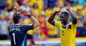 Cristian Zapata (right) of Colombia has settled into a sound defensive partnership with captain Mario Yepes. Photograph: EPA