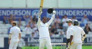 Sri Lanka captain Angelo Mathews  celebrates reaching his century during day four of the second Test match  at Headingley  in Leeds. Photograph: Dave Thompson/Getty Images