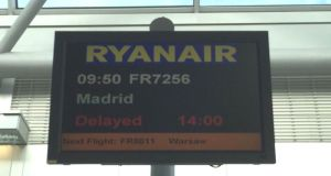 Ryanair has cancelled 26 flights today and warned of delays  possible further cancellations due to a strike by French air traffic controllers. Photograph: Sorcha Pollak