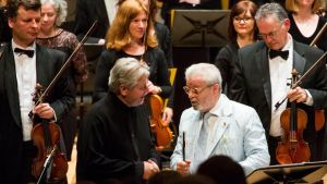Bill Whelan and flautist James Galway on stage at University Concert Hall, Limerick for one of two concerts celebrating Whelan. Photograph: Alan Place/Fusionshooters
