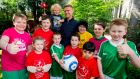 Damien Duff and his son Woody (centre) and soccer players united for Heart Children Ireland. Photograph: Andres Poveda
