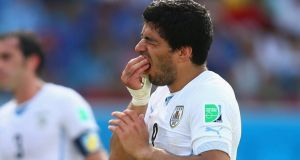 Luis Suarez of Uruguay  during the  Group D match against Italy  at Estadio das Dunas on June 24th, 2014 in Natal. Photograph:  Clive Rose/Getty Images