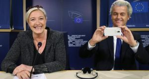 French National Front leader Marine Le Pen and Dutch Freedom Party leader Geert Wilders. Photograph: Reuters/Francois Lenoir