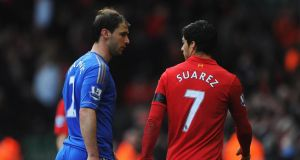 Suarez  also clashed with Branislav Ivanovic of Chelsea during a Premier League match in April  2013. Photo by Michael Regan/Getty Images