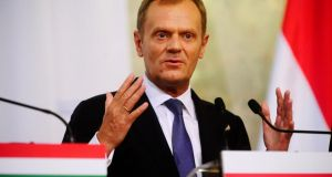 Donald Tusk said the person behind the secret recordings of his ministers' conversation in Warsaw restaurants would be prosecuted. Photograph: Reuters